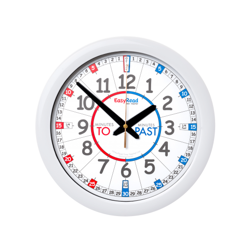 Mini classroom wall clock - white rim