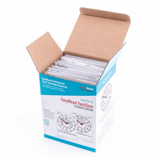 Pack of 10 student cards for learning the time