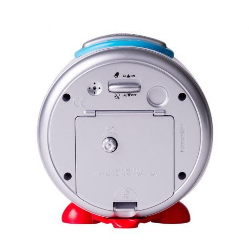 Rear view of child's alarm clock