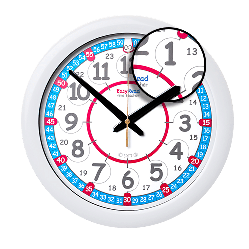 Red white blue time teaching clock