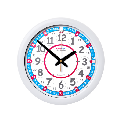 Learn the time clock, red white blue