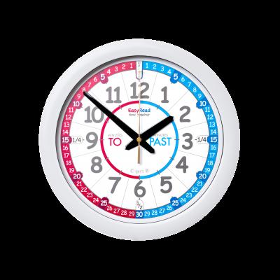 Red white blue time teacher wall clock