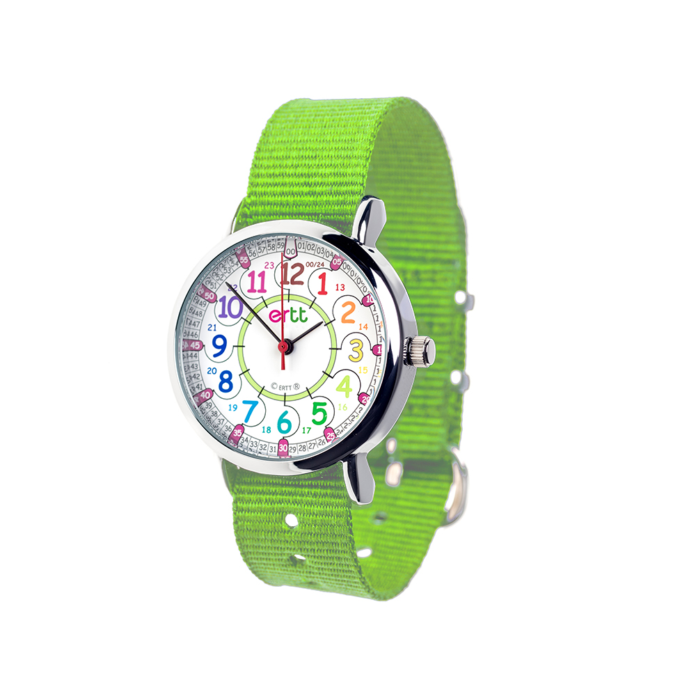 rainbow time teaching watch with lime strap