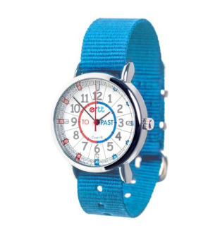 time teaching watch with bright blue strap