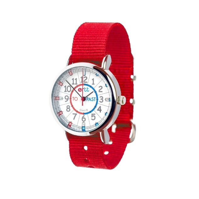 time teaching watch with bright red strap