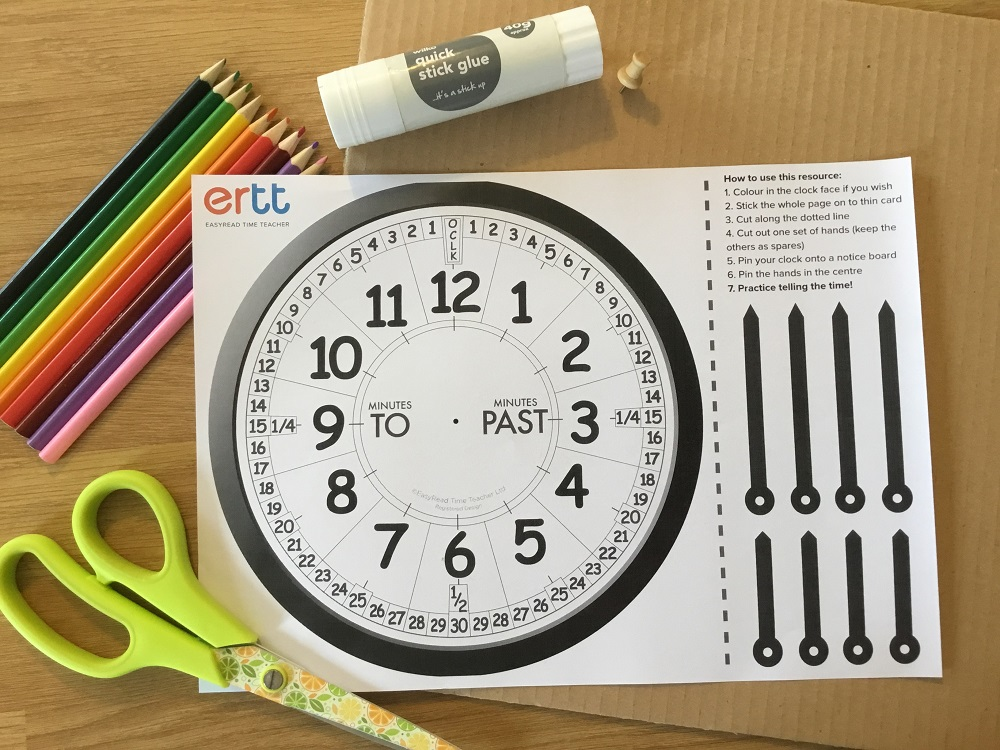 home schooling colouring clock